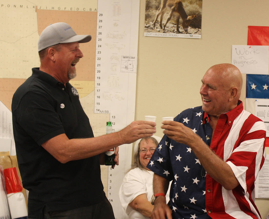 Special to the Pahrump Valley Times Former Nevada Assembly District 36 representative Ed Goedhart is shown congratulating Dennis Hof on his primary election win. Hof passed away before ultimately ...