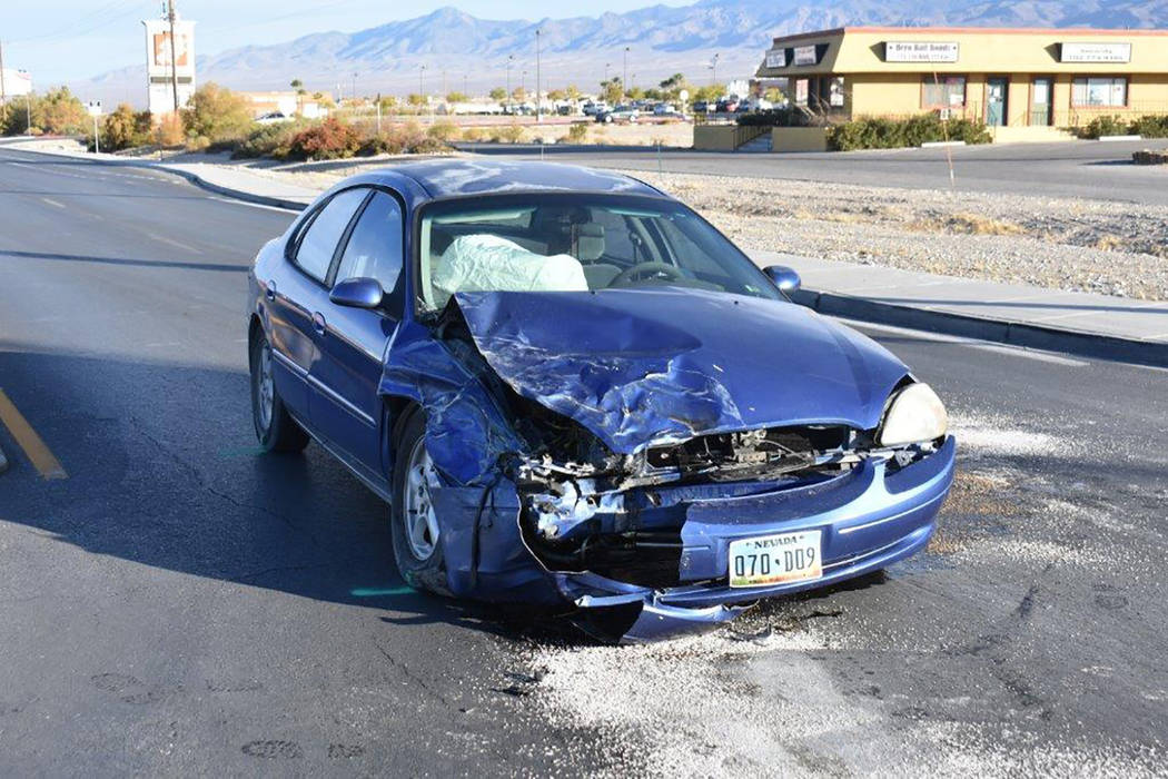 Special to the Pahrump Valley Times Emergency crews had just a few hundred yards to respond to a two-vehicle crash at Basin Avenue and Highway 160 on Wednesday morning Nov. 28. Fire Chief Scott Le ...