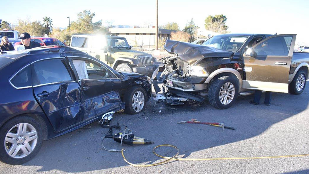 Special to the Pahrump Valley Times One person was transported by Mercy Air to UMC Trauma, while a second was taken to Desert View Hospital following a two-vehicle collision at the intersection of ...