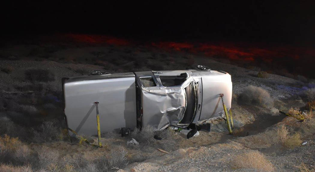 Special to the Pahrump Valley Times A single-vehicle rollover crash prompted the response of Pahrump fire crews to Front Sight Road, just before 6 p.m. on Friday Nov. 30. The driver was transporte ...