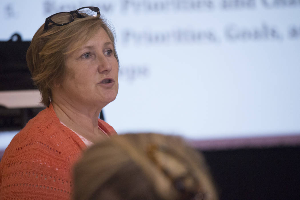 Jeffrey Meehan/Pahrump Valley Times Julie Schafer, senior associate for Ohio-based RLS & Associates Inc., speaks at a Nevada Department of Transportation workshop on rural public transportation on ...