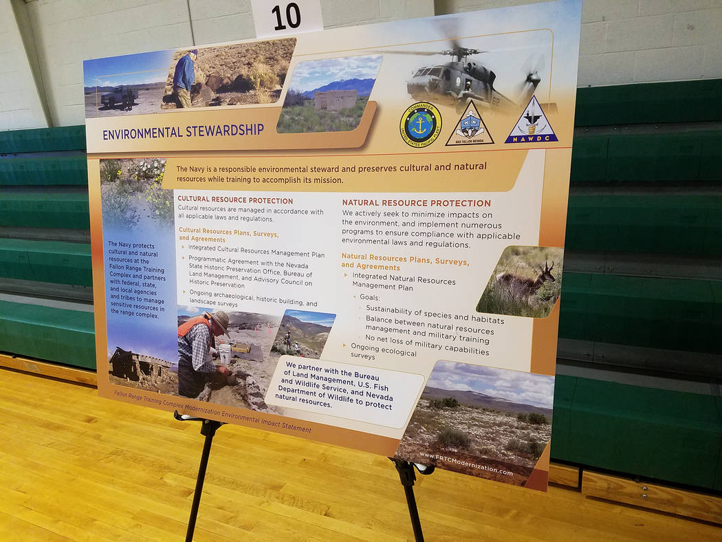 A large Navy display in Gabbs, as shown in a fall photo, highlights the environment as a key topic. A public meeting was held there in October on the proposed expansion of the Navy's Fallon Range ...