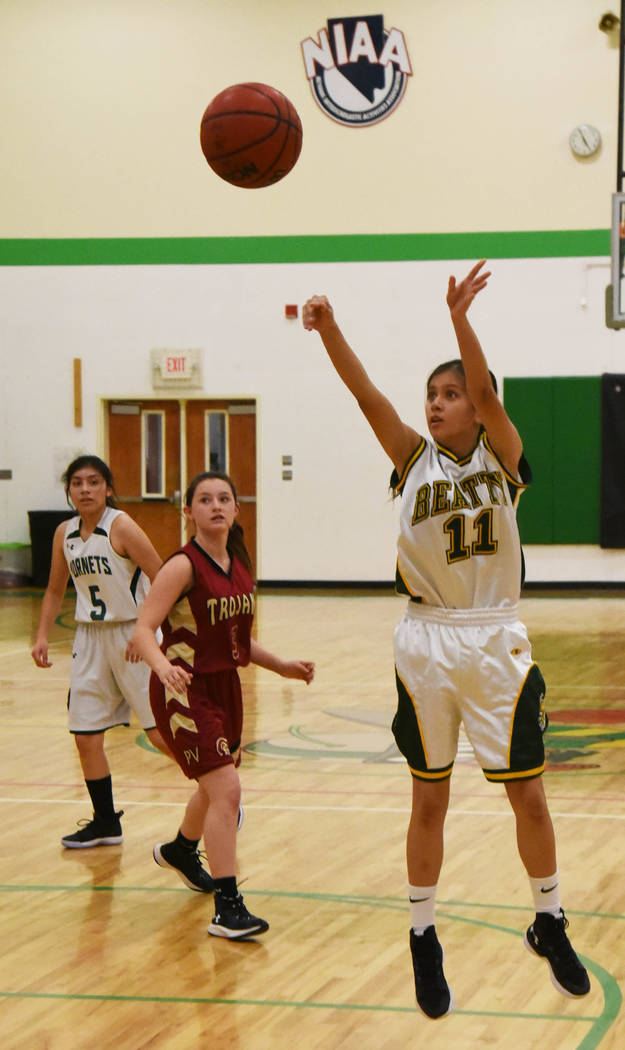 Richard Stephens/Special to the Pahrump Valley Times Beatty freshman Anna Torres shoots during the Hornets' game against the Pahrump Valley junior varsity Wednesday night in Pahrump.