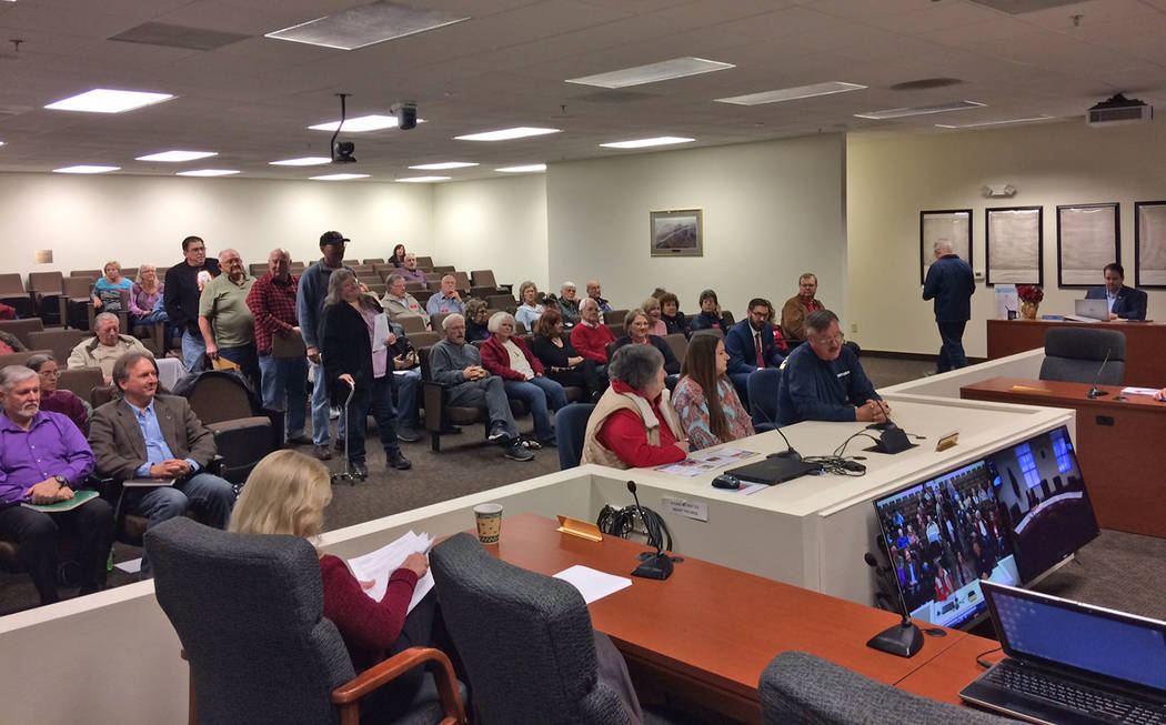 Robin Hebrock/Pahrump Valley Times A line of those wishing to speak regarding the nomination for Assembly District 36 began forming as soon as the public comment portion of the agenda item was ope ...