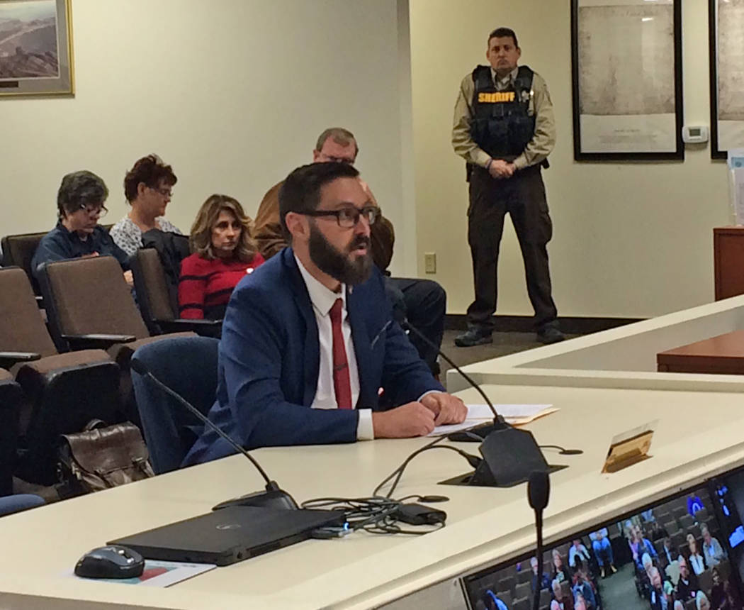 Robin Hebrock/Pahrump Valley Times Greg Hafen II is pictured addressing the Nye County Commission on Dec. 5 when he was nominated by that board for Dennis Hof's vacant Assembly seat.