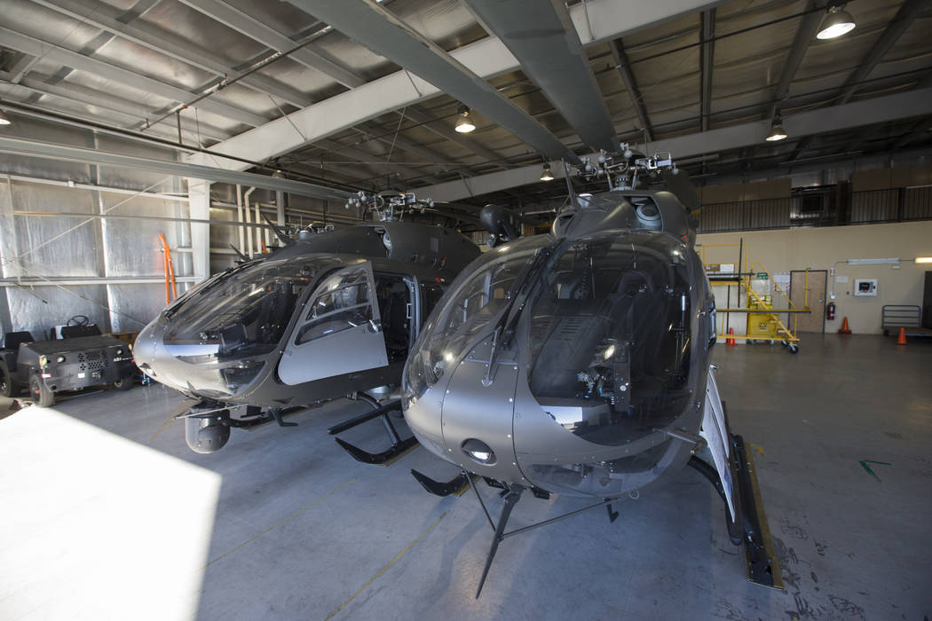 Two of the six UH-72 Lakota helicopters at the support facility by the North Las Vegas Airport in Las Vegas on Friday, Oct. 19, 2018. The six Lakota helicopters are used to conduct search and resc ...