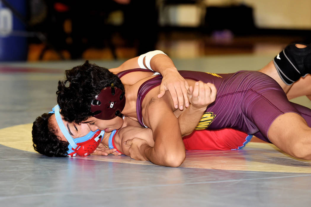 Peter Davis/Special to the Pahrump Valley Times Pahrump Valley's Isaak Cruz went 4-1, including two first-period falls, during the Trojans' 4-1 day at the Spring Valley Duals.