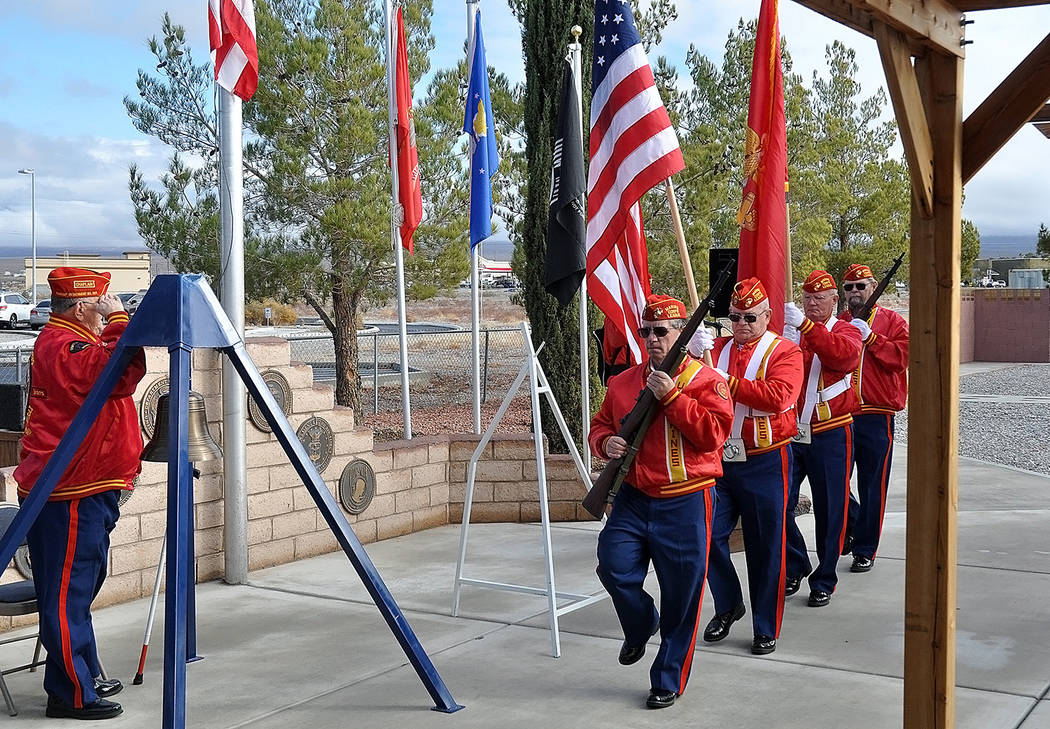 Horace Langford Jr./Pahrump Valley Times Members of the Pahrump Marine Corps League Detachment prepare to post the colors at the start of the Pearl Harbor Pearl Harbor Remembrance.