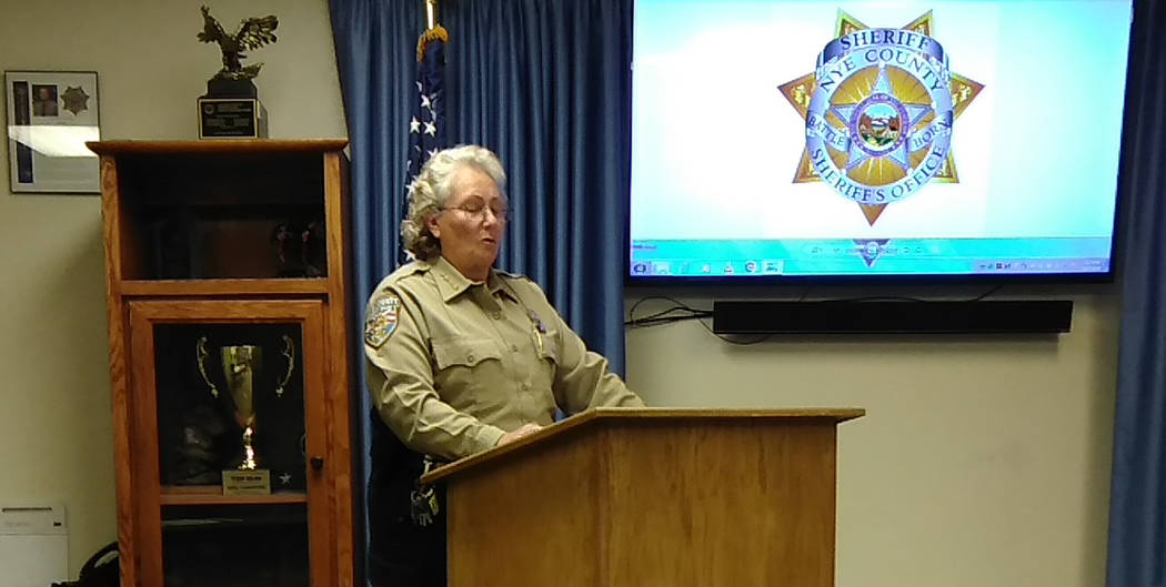 Selwyn Harris/Pahrump Valley Times Nye County Sheriff Sharon Wehrly briefs area media outlets on the details of an officer-involved fatal shooting which took place Thursday evening Dec. 6. Wehrly ...