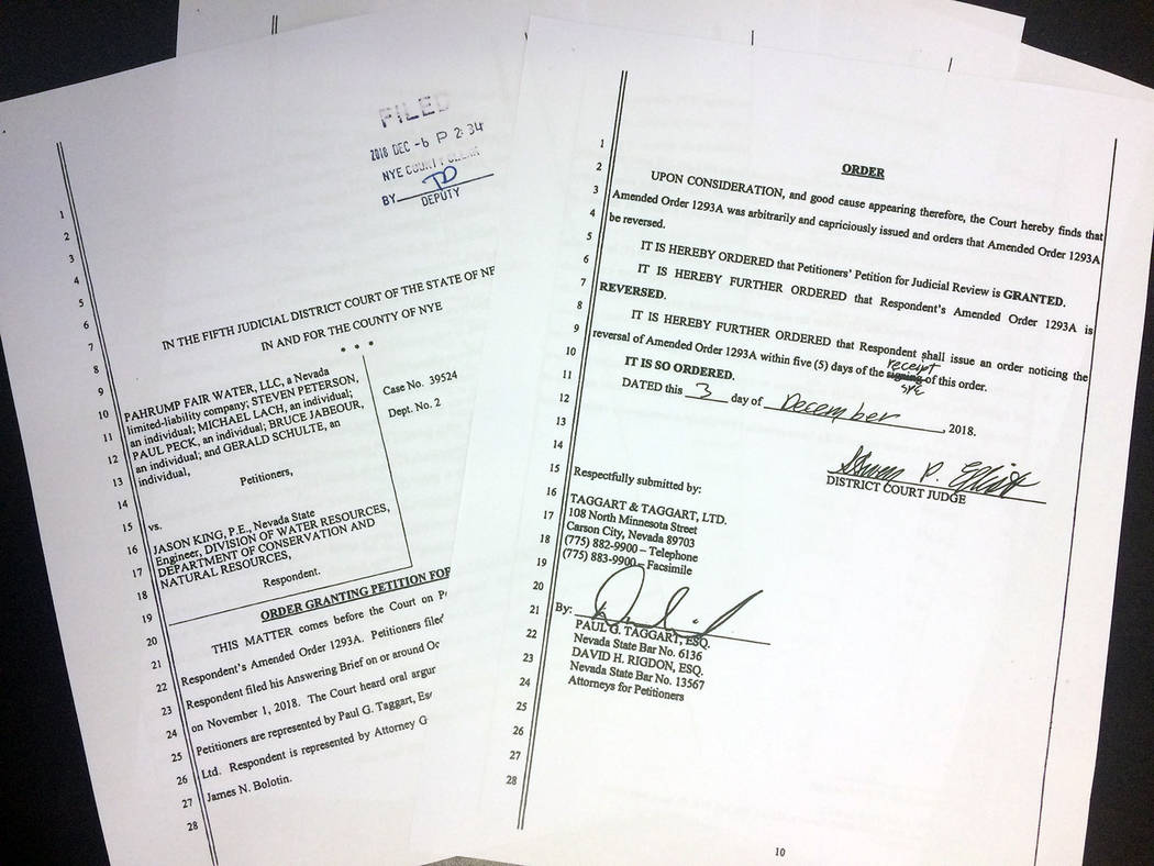 Robin Hebrock/Pahrump Valley Times Court documents reversing Order #1293(A) are pictured. Signed by a district court judge on Dec. 3, the court order was filed with the Nye County Clerk's Office o ...