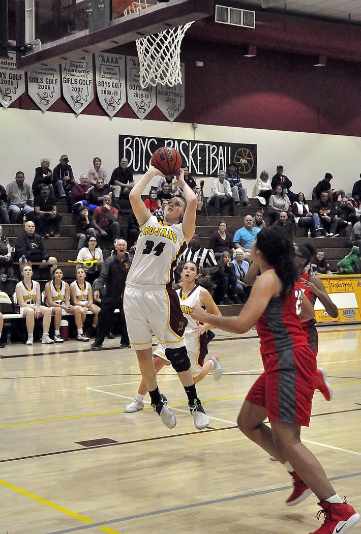 Horace Langford Jr./Pahrump Valley Times Junior forward Kylie Stritenberger goes up for 2 of her game-high 10 points during Pahrump Valley's 45-18 win over Valley on Tuesday night in Pahrump.