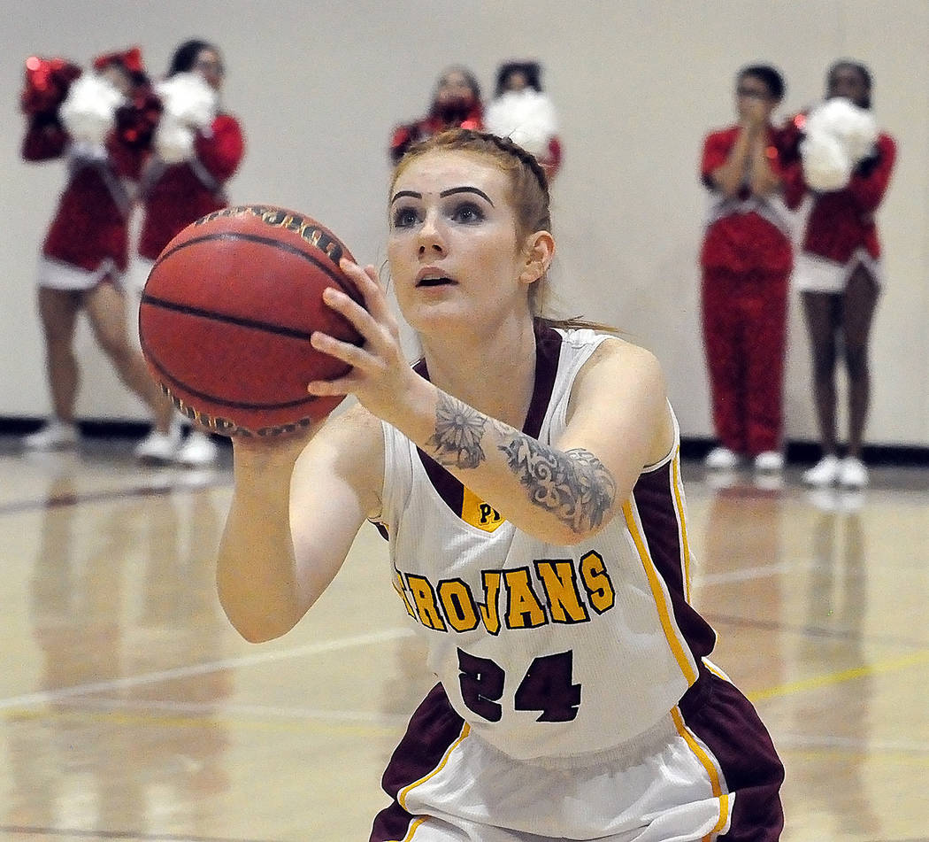 Horace Langford Jr./Pahrump Valley Times Savannah Fairbanks lines up a fourth-quarter free throw Tuesday night during Pahrump Valley's 45-18 win over Valley in Pahrump.