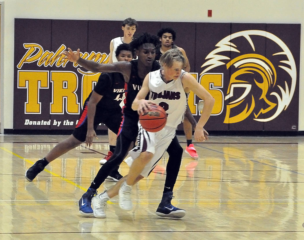 Horace Langford Jr./Pahrump Valley Times Junior guard Grant Odegard scored a game-high 13 points, including four 3-pointers, in Pahrump Valley's 48-41 loss to Valley on Tuesday night in Pahrump.