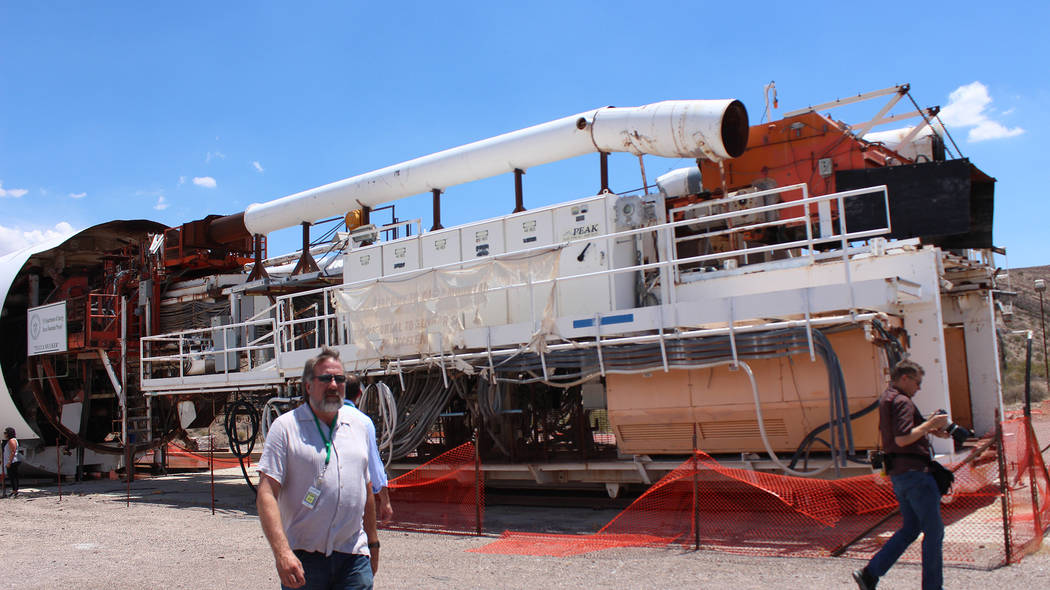 Jeffrey Meehan/Pahrump Valley Times The Yucca Mucker (pictured) bore the tunnel for the proposed nuclear waste storage facility at Yucca Mountain. The tunnel spans five miles long and drilling was ...