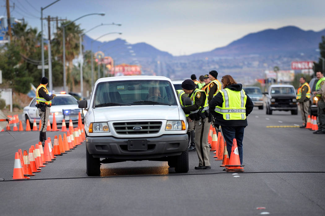 David Becker/Las Vegas Review-Journal file This file photo shows a DUI checkpoint. In an interview, Trooper Rivera spoke of the importance of wearing seatbelts while traveling the roadways.
