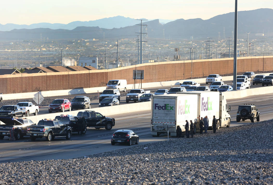 The Nevada Highway Patrol is investigating a fatal crash on the 215 Beltway, near Stephanie Street in Henderson on Thursday, Nov. 1, 2018. (Bizuayehu Tesfaye/Las Vegas Review-Journal) @bizutesfaye