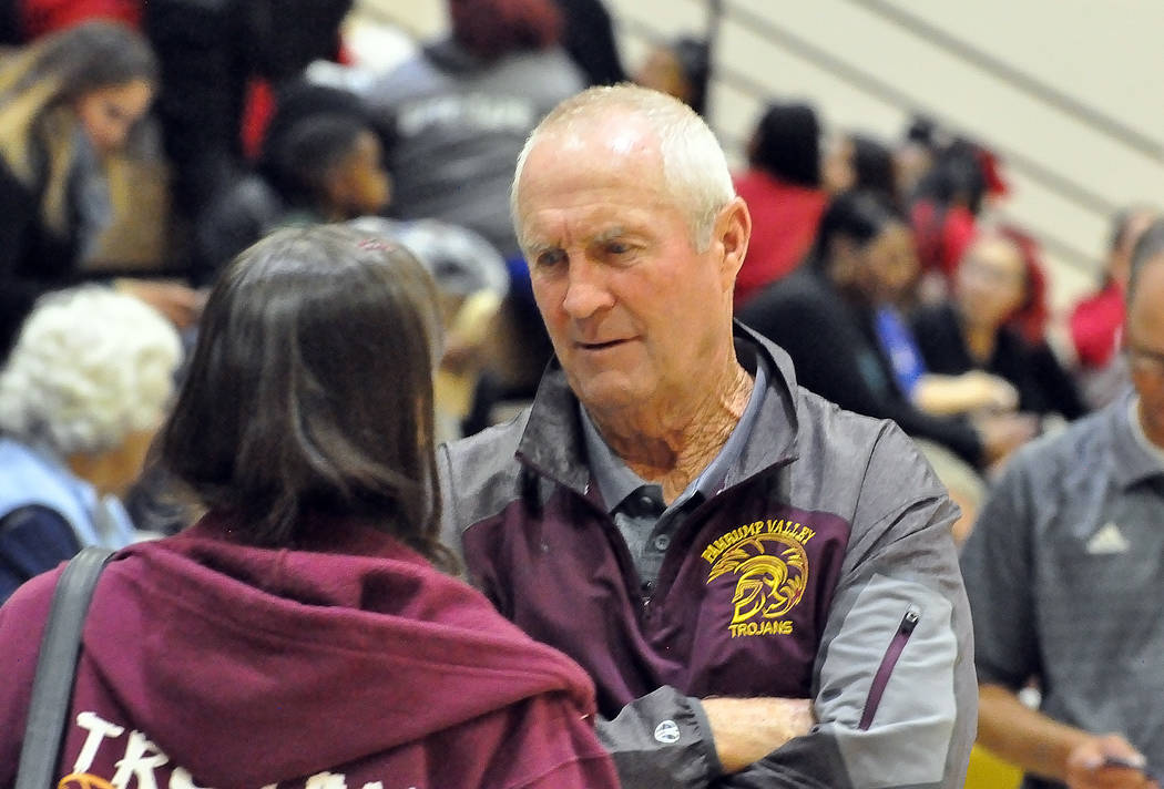 Horace Langford Jr./Pahrump Valley Times Veteran Pahrump Valley girls basketball coach Bob Hopkins has been extremely pleased with his defense and disappointed with his offense during the Trojans' ...