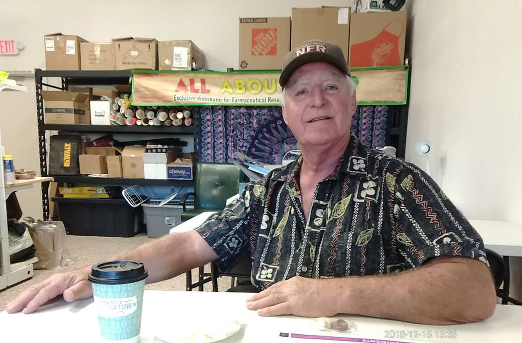 Selwyn Harris/Pahrump Valley Times Pahrump resident Ralph Schweitzer enjoys a hemp-infused tea while attending All About Hemp's Saturday Dec. 15 grand opening. Schweitzer also sang the praises of ...