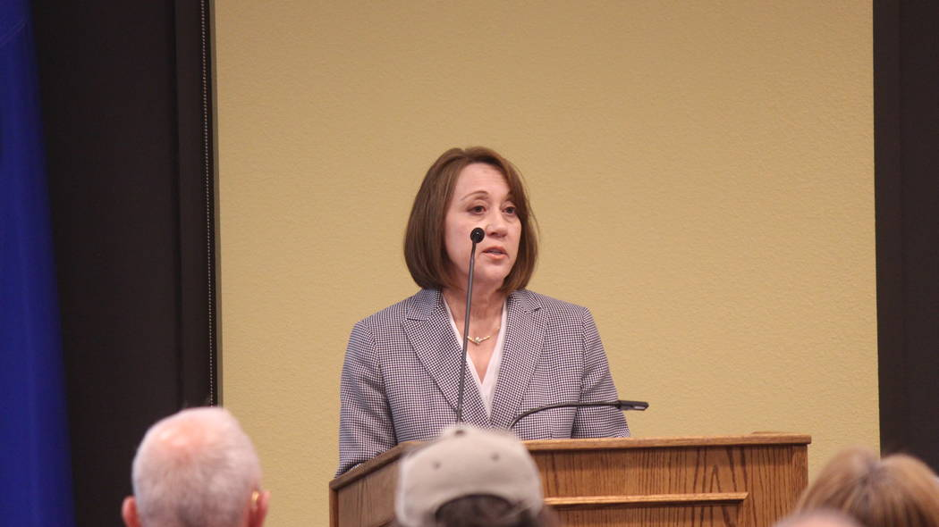 Jeffrey Meehan/Pahrump Valley Times Angela Evans, newly appointed CEO of Valley Electric Association Inc., speaks at the Valley's conference center at 800 E. Highway 372 on Dec. 5, 2018. The event ...