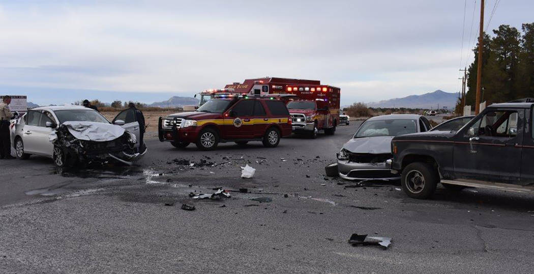 Special to the Pahrump Valley Times Two people were transported to Desert View Hospital after emergency crews responded to a three-vehicle collision at the intersection of Homestead and Kellogg ro ...