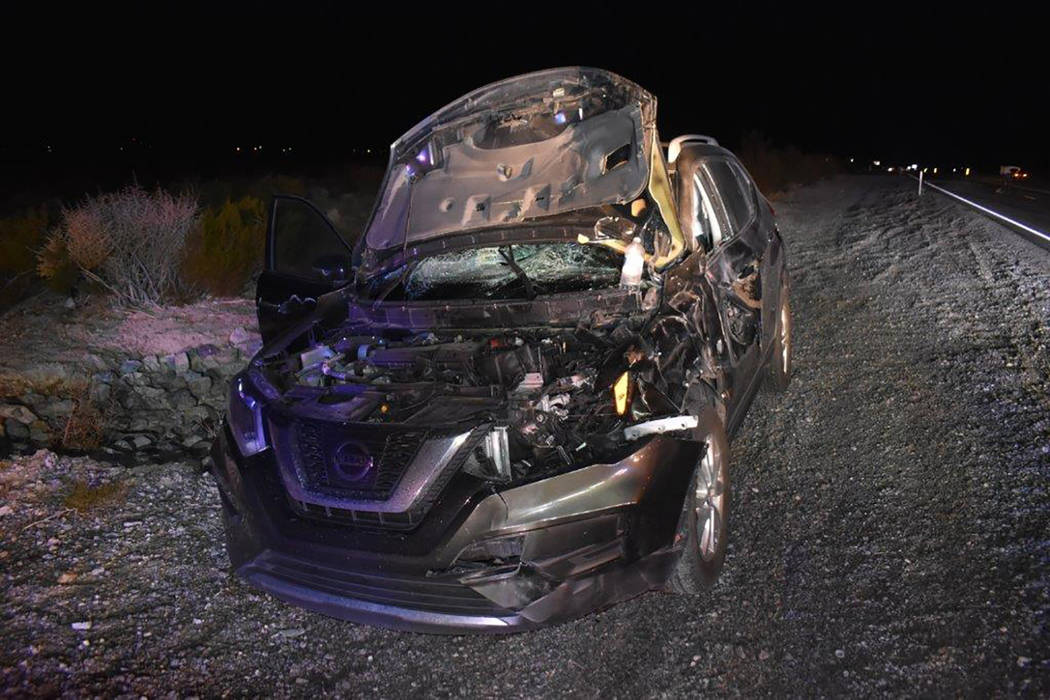 Special to the Pahrump Valley Times Fire crews were dispatched to Highway 160 at Irene Street on Dec. 7, for a multi-vehicle crash, caused by a wild horse crossing the highway. Though the horse di ...