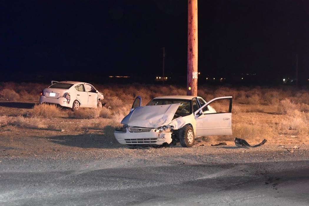 Special to the Pahrump Valley Times One person was transported via Mercy Air to UMC Trauma, following a two-vehicle collision at the intersection of Leslie Street and Charleston Park Avenue, just ...