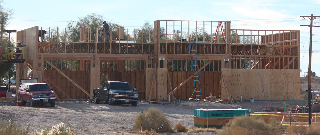 Jeffrey Meehan/Pahrump Valley Times A new Starbucks coffee shop is being constructed at 460 S. Highway 160. Construction crews were at the site working at the end of November; the future structure ...