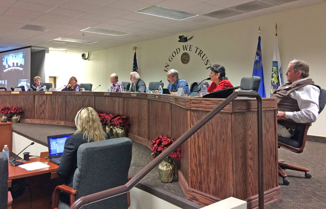 Robin Hebrock/Pahrump Valley Times Members of the board of county commissioners for Nye, Clark and Lincoln counties are shown at the Dec. 7 joint meeting in which the appointment of Greg Hafen II ...