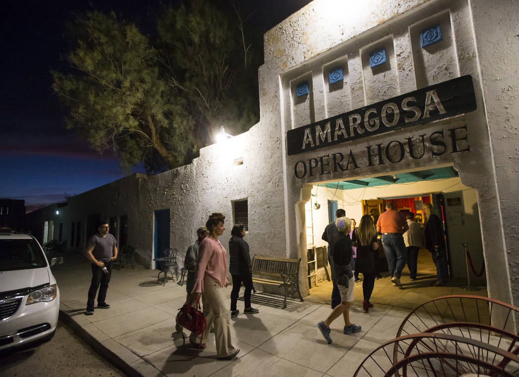 People arrive for the season-opening performance at the Amargosa Opera House in Death Valley Junction, Calif. on Friday, Oct. 20, 2017. Chase Stevens Las Vegas Review-Journal @csstevensphoto