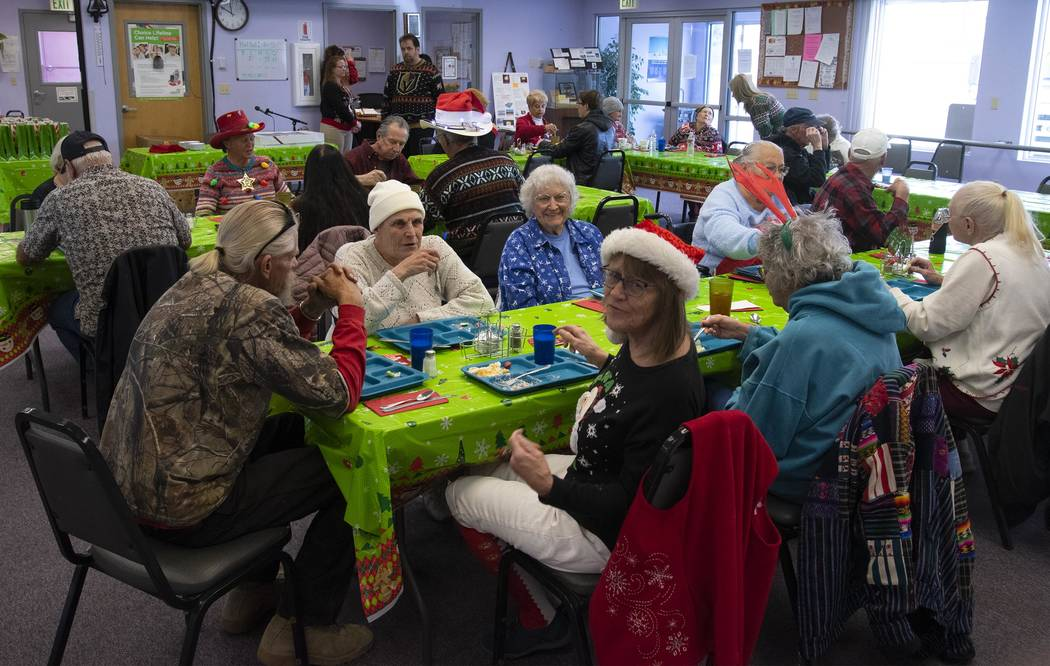 Richard Stephens/Special to the Pahrump Valley Times The Beatty Senior Center held an Ugly Christmas Sweater Themed Grand Re-Opening, which included a holiday luncheon. The center had been closed ...