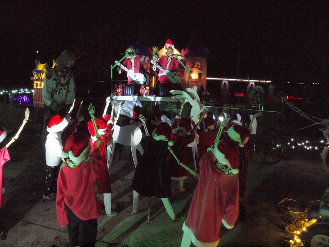 Bryan and Dusty Schoening/Special to the Pahrump Valley Times A few characters make up just part of a Christmas display at 2800 block of Sunset St., near W. Bell Vista Ave. and Barney St. The disp ...