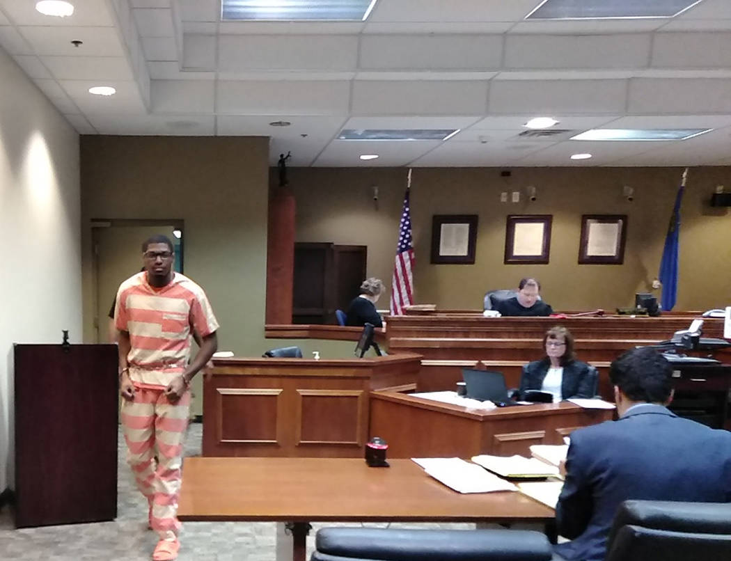 Selwyn Harris/Pahrump Valley Times Mitchell Robinson enters the courtroom for his sentencing hearing before Nye County Fifth Judicial District Court Judge Robert Lane on Monday Dec. 17. Robinson r ...