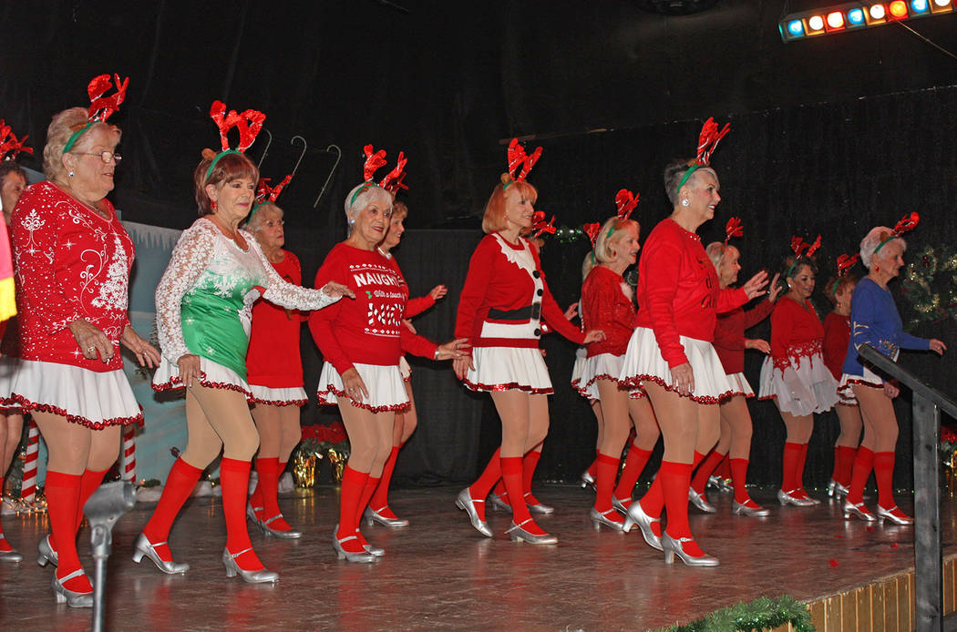 Robin Hebrock/Pahrump Valley Times Decked out in Christmas style, the ladies of the Nevada Silver Tappers put on a fabulous show for the community on Dec. 8. The fundraiser brought in thousands to ...