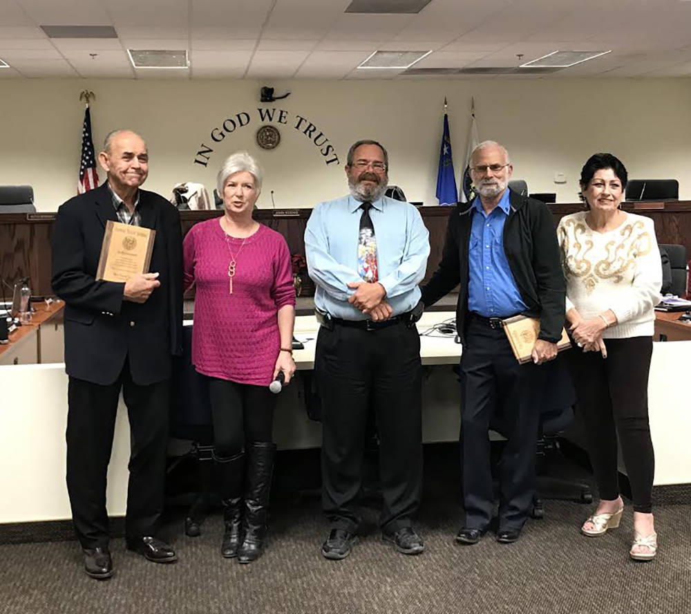 Special to the Pahrump Valley Times From left to right are Nye County Commissioners Butch Borasky, Lorinda Wichman, Dan Schinhofen, John Koenig and Donna Cox. Borasky and Schinhofen are both prepa ...