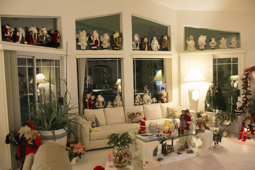 Jeffrey Meehan/Pahrump Valley Times A local couple, Curt and Dot Ahrens, opened their large display of Santa Clauses and other Christmas-themed items in their Pahrump residence to the public, on a ...