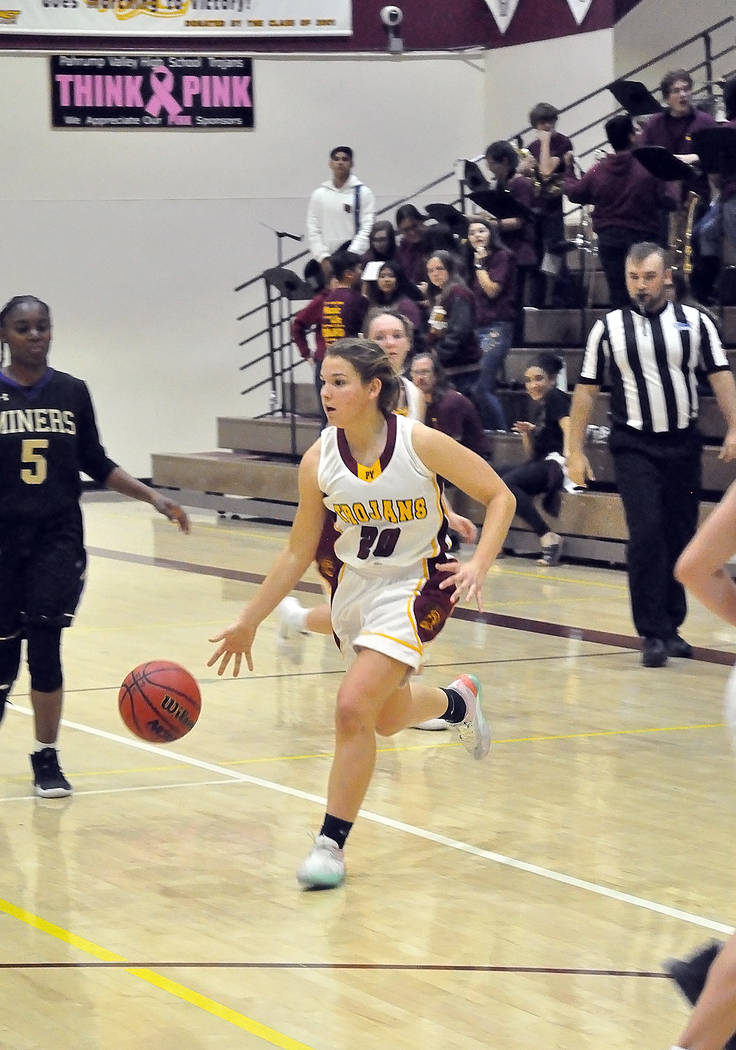 Horace Langford Jr./Pahrump Valley Times Pahrump Valley sophomore guard Madelyn Souza looks for room to maneuver Friday night against Sunrise Mountain. Souze scored 4 points late in the fourth qua ...