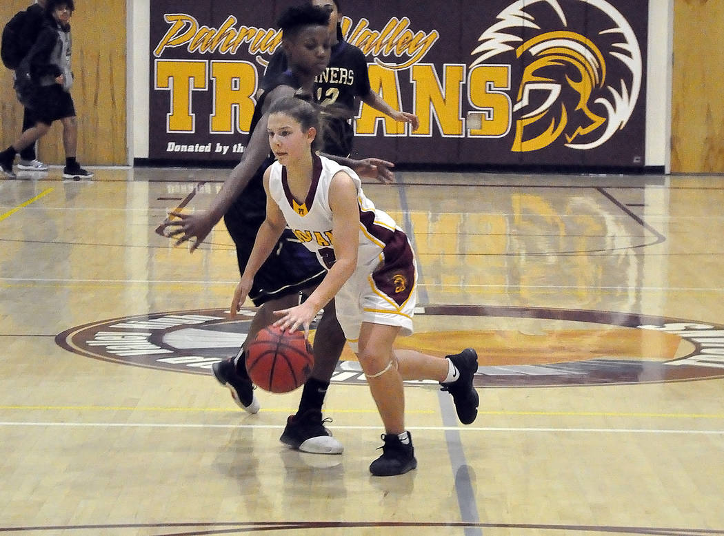Horace Langford Jr./Pahrump Valley Times Freshman guard Tayla Wombaker started Friday night's game against Sunrise Mountain for Pahrump Valley and chipped in 8 points during the Trojans' 38-34 vic ...