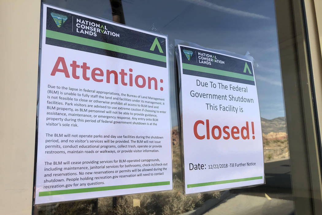 The scenic loop at Red Rock National Conservation Area was accessible despite fee stations being closed on Saturday, Dec. 22, 2018, during a partial government shutdown. (Rio Lacanlale/Las Vegas R ...