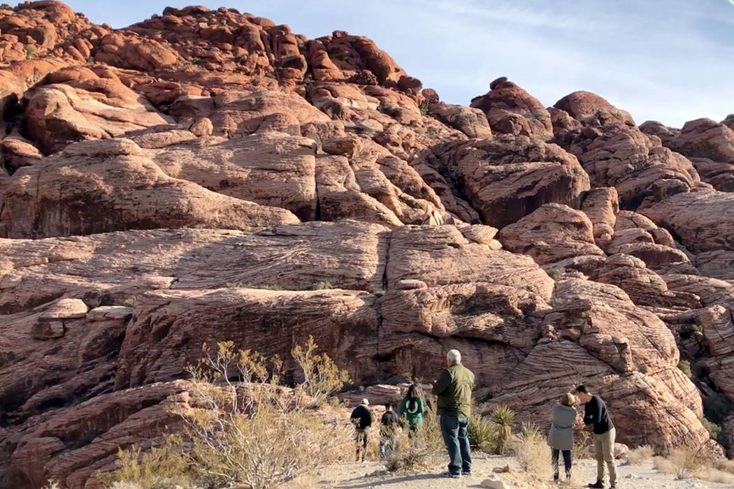 The scenic loop at the Red Rock Canyon National Conservation Area is seen on Saturday, Dec. 22, 2018. The scenic loop was accessible despite fee stations being closed on Sunday during a partial go ...