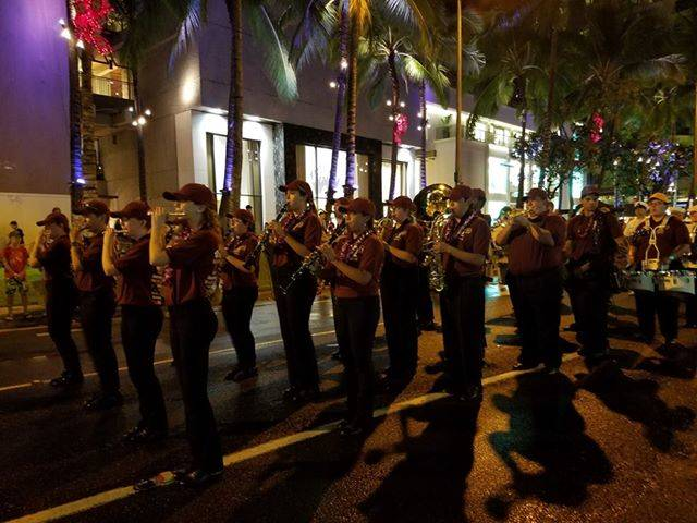 Amanda Everson/Special to the Pahrump Valley Times The Pahrump Valley High School marching band marches toward Pearl Harbor on Dec. 7, 2018.