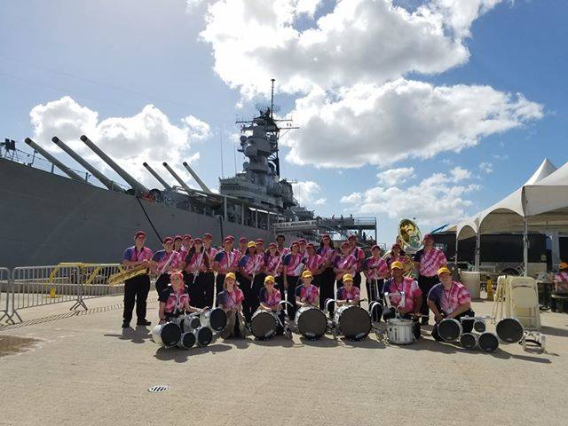 Amanda Everson/Special to the Pahrump Valley Times The Pahrump Valley High School marching band in front of the USS Missouri in Hawaii.