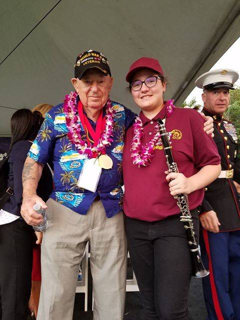 Amanda Everson/Special to the Pahrump Valley Times Theoret Everson, marching band member at Pahrump Valley High School (right), stands next to a surviving veteran of the attack on Pearl Harbor. Ev ...