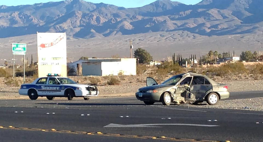 Special to the Pahrump Valley Times The driver of a Ford sedan died after failing to yield the right of way to a vehicle traveling southbound on Highway 160 at Mesquite Avenue just after 7 a.m., o ...