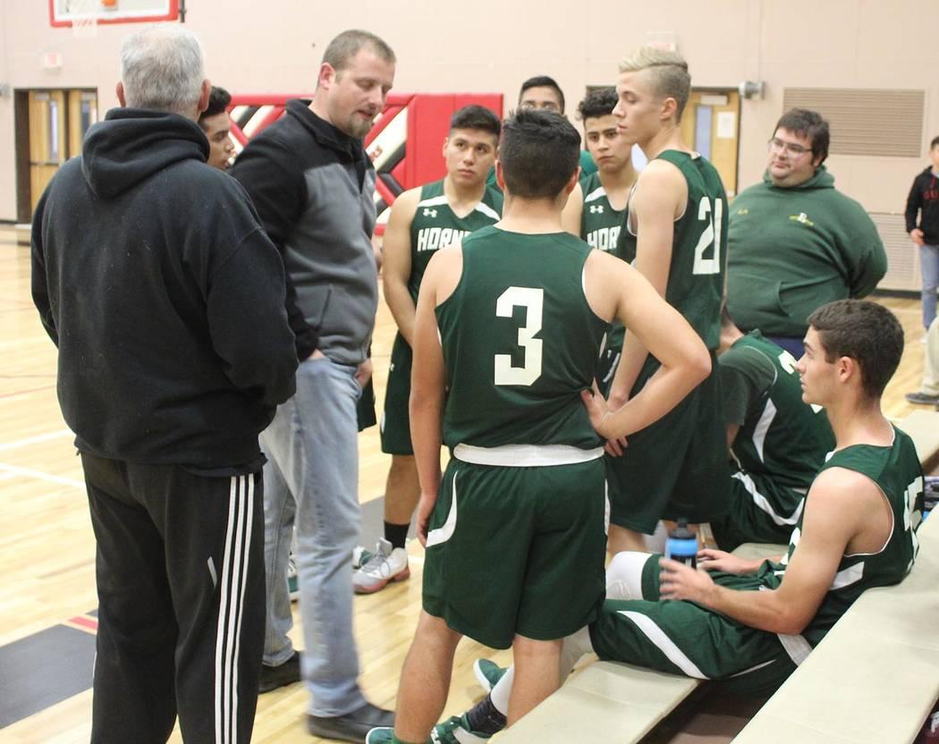 Tom Rysinski/Pahrump Valley Times Beatty High School boys basketball coach Steve Sullivan talks to his players during a Dec. 4 game in Tonopah.