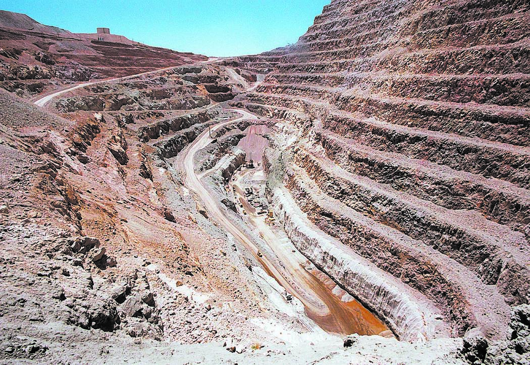 Open pit area of the Barrick Bullfrog Gold Mine. (RJ Photo Gary Thompson)
