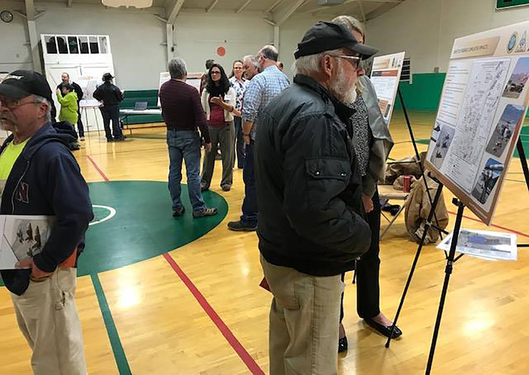 Photo courtesy of Basin & Range Watch People are shown at a public meeting Dec. 10 in Gabbs where the Navy updated residents on its proposed expansion in Nye County.