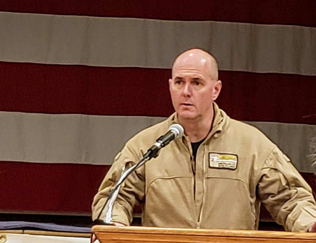 Heidi Bunch/Mineral County Independent-News Capt. David Halloran, Commanding Officer of the Fallon Range, explains the need for training land expansion at a public meeting in Hawthorne on Dec. 10