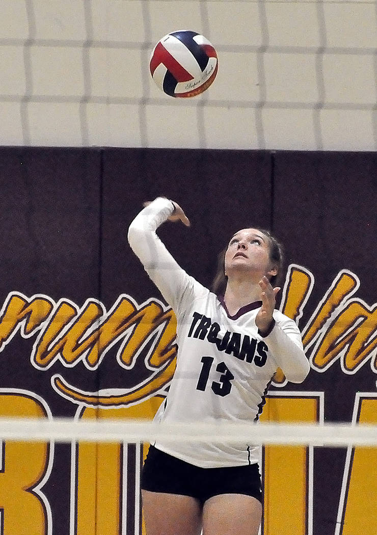 Horace Langford Jr./Pahrump Valley Times Senior Jackie Stobbe unleashes a serve against Moapa Valley during the Trojans' 3-1 loss to the Pirates on Sept. 20 in Pahrump. Stobbe was named honorable ...