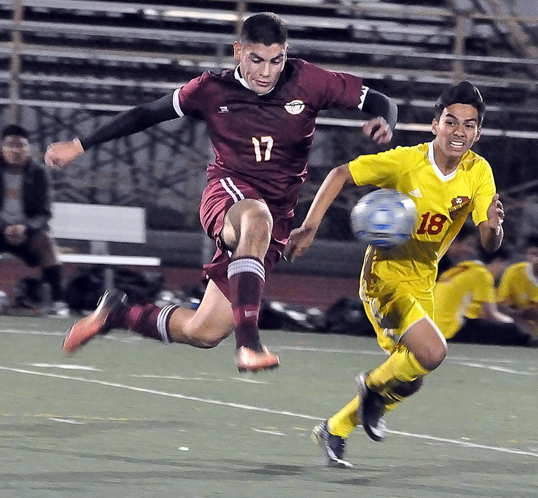 Horace Langford Jr./Pahrump Valley Times Senior midfielder Jose Chavez scored both goals during Pahrump Valley's 2-1 win over Del Sol that clinched a playoff berth. After scoring 33 goals, Chavez ...