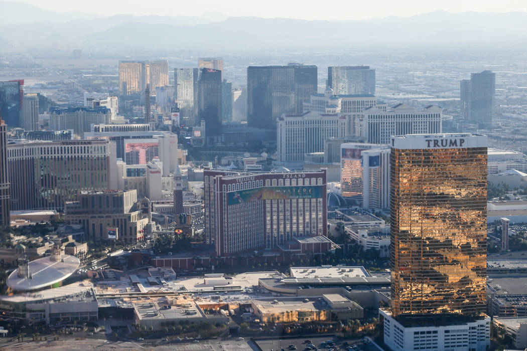 A view of the Strip as seen from inside a helicopter piloted by Joe Munoz, 41, of Maverick Helicopters, in Las Vegas, Friday, Dec. 1, 2017. Joel Angel Juarez Las Vegas Review-Journal @jajuarezphoto